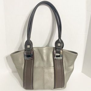 Tignanello Two-Toned Metalic Leather Shoulder Bag